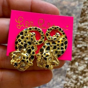 NWT Lilly Pulitzer Gold Leopard Earrings